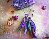 Moon Stars Earrings. Sari silk tassel earrings. Purple Earrings. Medium dusters. Moon jewelry Recycled Sari silk bohemian moon star earrings