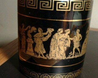 Greek Black Porcelain - Ritual Cup/Vessel - Vintage Hand Made in Greece - 24K Gold Trim