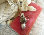 Vintage Art Sterling Silver Natilius Necklace / Art Piece / Petrified Nautilus Shell / Sterling Italian Chain / Hand Crafted