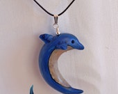 Whimsical Dolphin Necklace ~ Polymer Clay Jewelry ~ Wearable Clay Art ~Gift for Women ~ Clay Art Jewelry by Classon Creations