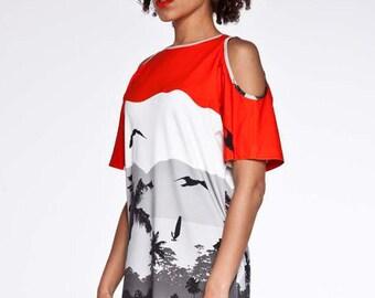 FINAL SALE Cut out shoulder dress with hawaiian sunset pattern.