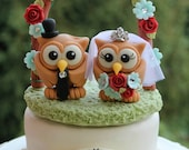 Wedding owl cake topper with grass base and floral arc, red aqua wedding, customizable