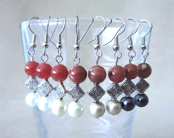 Ringed Agate & Pearl Dangle Earrings w/Detailed Silver Diamond Beads, Semi Precious Stone Celtic Earrings Colored Pearls Handmade Jewelry