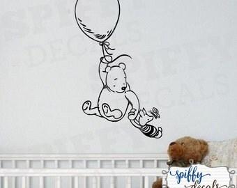 Winnie The Pooh Piglet Balloon Wall Decal Sticker Nursery Classic Winnie The Pooh Bear