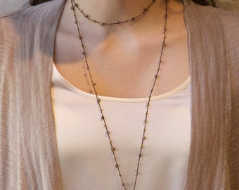 SALE- Extra Long-Gold Druzy and Crystal- Beaded Delicate Necklace