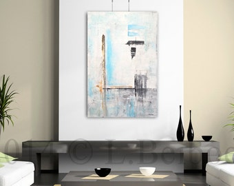 Original abstract painting large contemporary art blue white 24 x 36 modern oil painting schilderij by L.Beiboer
