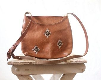 Vintage Brown Beaded Leather Handbag