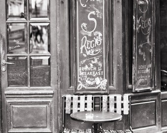 Paris Cafe Fine Art Photograph, Cafe St. Regis, Black and White Photo, Large Wall Art, French Kitchen Decor, Travel Photograph