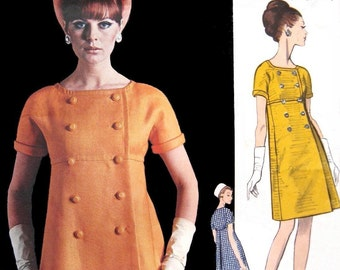 Vintage GALITZINE Mod Dress Sewing Pattern Vogue Couturier Design 1822 A-Line Double Breasted Coat Dress Size 12 Bust 32 with Label