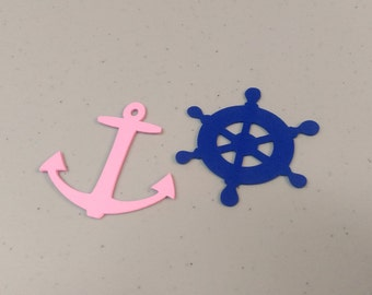 Nautical Anchor and Ship Wheel Die Cuts, 48pcs Anchor and Wheel Cutouts