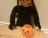 American Girl size Halloween Treat pumpkin with treats