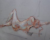 Original Figure Drawing-Expressive life study-Reclining male nude-Human form. Large gestural life drawing. Pastel. Charcoal. Affordable art