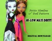 """Hi-low wrap maxi dress doll clothes pattern for 17"""" Petite Slimline Fashion Dolls: Gooliope, Frightfully Tall Monster High, Ever After High"""