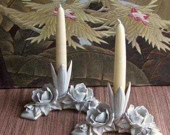 Handmade Porcelain, Flowers Candleholder, Rose Candleholder, Chrysanthemum Candleholder, Miniture Vase, Bridal,  Wedding, Buddhist Shrine