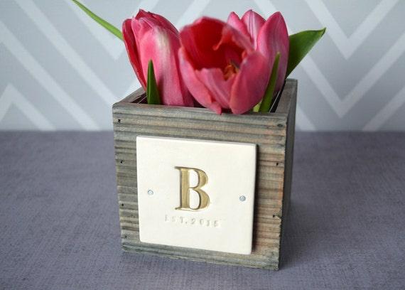 Personalised Vase Wedding Gift : PERSONALIZED VASE Wedding GiftAged Wood Pine