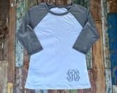 Monogram Tee Shirt, Monogram Raglan t shirt, Monogrammed Baseball T shirt, Women's Monogrammed Three Quarter Sleeve T shirt