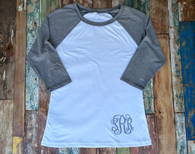 Monogram Raglan Tee Shirt, Monogrammed Raglan Shirt, Monogram Tee Shirt, Monogrammed Three Quarter Sleeve T shirt