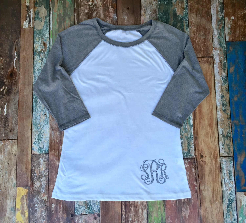 Monogram raglan tee shirt monogrammed raglan t shirt for Dress shirt monogram placement