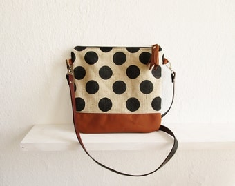 Dotted Crossbody bag, Canvas and Leather, Printed bag, Crossbody purse, Small crossbody bag