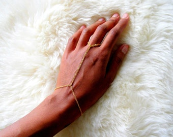 Double Ring Bracelet, simple hand chain, simple gold bracelet, ring chain bracelet, dainty bracelet, gold bracelet, gold slave bracelet