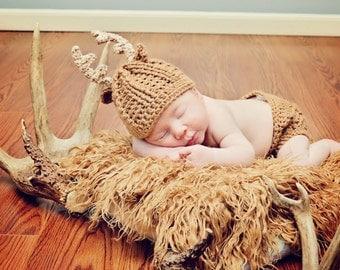 Baby Deer Antler Crochet hat - Whitetail Baby Deer hat - Newborn Antler Hat - Newborn photo prop- HAT ONLY
