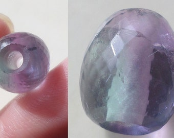 1 Large Hole Purple Green Fluorite Micro Faceted Focal Oval Nugget Bead, 3mm Big Drill Hole Bead, Semi Precious Gemstone Bead, Loose Bead