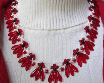 seed bead necklace, beaded necklace, woven necklace, pearl necklace, red necklace, Czech necklace, bead woven necklace, handmade necklace