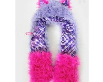 CUSTOM scoodie faux fur hat rave kitty bear faux fur animal hat festival hood