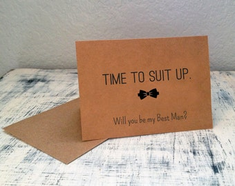 1 Will You Be My Best Man card - customized groomsman card with wedding date - Time To Suit Up personalized wedding party card