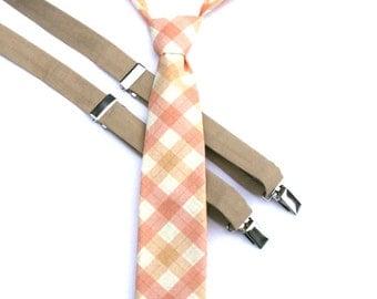 Boys Khaki Plaid Necktie,  Wedding Ring Bearer, Toddler Boy Tie, Baby Necktie, Rose Quarts, Youth Plaid Necktie, Boys Plaid Tie, Plaid Tie