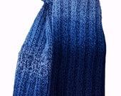 Hand Knit Scarf - Blues Tweed Trail Ridge Rib Wool