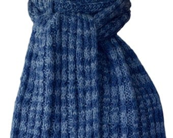 Hand Knit Scarf - Blue River Cable Rib Alpaca Cashmere Silk