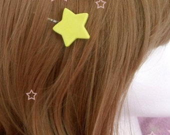 Kawaii Magical Girl Shoujo Mahou Yellow Star Hair Pins *Set of 2*