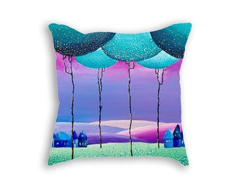 Decorative pillow cover Purple Mint Green Children room Decorative covers Throw pillows Nature art Landscape print on pillows case 18x18