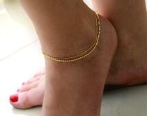 Valentines Sale Ankle Bracelet, Gold Ankle Bracelet, Gold Bracelet, Delicate bracelet, Wedding jewelry, Foot Jewelry, Dainty Bracelet, jewel