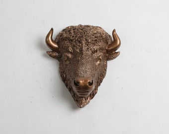White Faux Taxidermy - The MINI Scarlett - Bronze Resin Bison Head- Buffalo Resin White Faux Taxidermy- Chic & Trendy