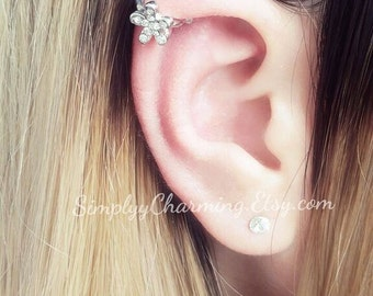 Rhinestone Flower Rose Cartilage Ear Cuff Silver Helix Tiny Ear Cuff Earring Jewelry