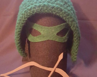 DCs Green Arrow Crochet Hat Set: Newborn, Baby, Toddler, Child and Adult Sizes Available