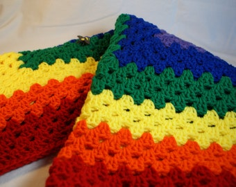 Rainbow Baby Blanket, Crocheted Receiving Blanket, Small Lapghan