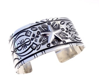 Large Wide Silver Bracelet with chasing and repousse