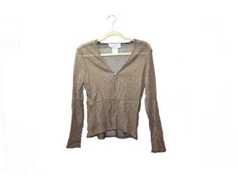 Vintage Fishnet Shirt 90s Metallic Gold Sparkle Shirt Metallic Fishnet Jacket Rave, Club Kid shirt Size 8