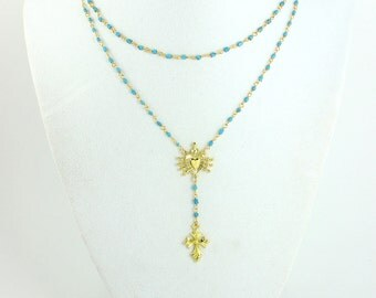 Rosary Necklace Turquise Multi Strand Necklaces Cross Pendant Gold Vermeil Seven Swords of Mary Catholic Christian Jewelry