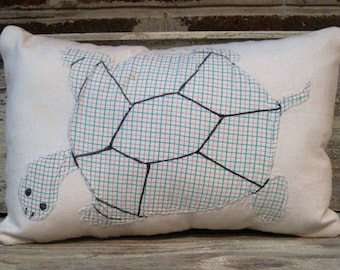 Vintage Appliqued Turtle Pillow with Quilt Backing