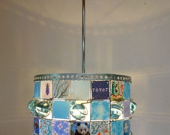Shades of Ocean BLUE Children Recycle Hanging Lamp, turqois, Pictures and glass marbles  (As floorlamp possible)