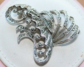 Vintage Silver Coloured & Sparkly Marcasite Abstract Swirl Brooch (c1950s)