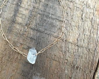 Raw Aquamarine Nugget Bracelet on Gold Filled Chain