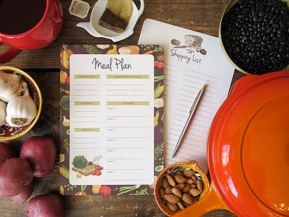 Meal Plan & Shopping List Notepad | 2-in-1 Magnetic Notepad