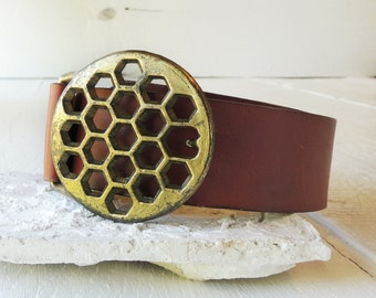 Vintage Genuine Leather Waist Belt/Brass Belt Buckle/Honeycomb Buckle/Geometric Design Brass Belt/Abstract/Rustic Leather Belt/Boho Leather