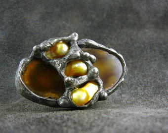 Pearls & Large Agate Ring by AMW • Adjustable WIDE Sterling SILVER Band Ring •• free shipping