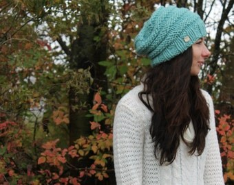 Mint Hive Slouchy Hat . Wool Free Chunky Knit Hat .  Hand Knit in Canada